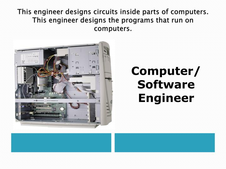This engineer designs circuits inside parts of computers.  This engineer designs the programs that run on computers.