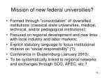 mission of new federal universities