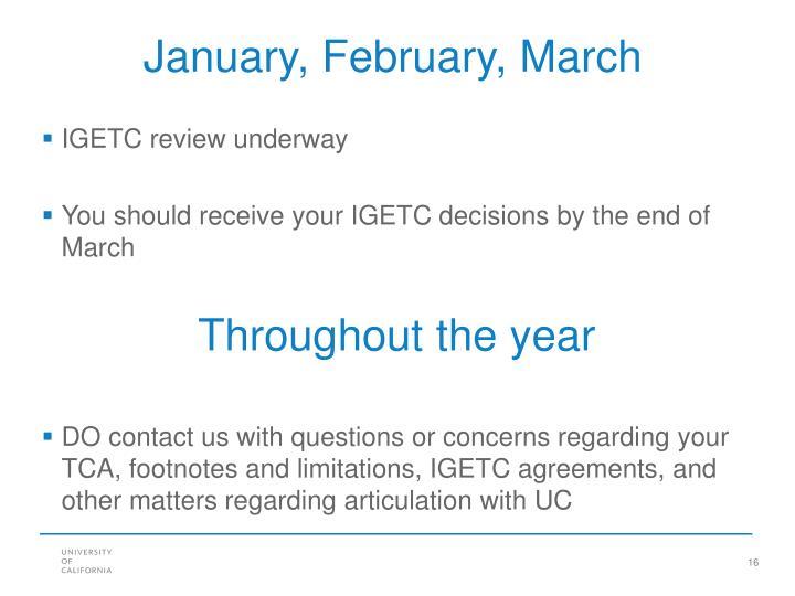January, February, March