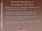 common standards in accreditation activities