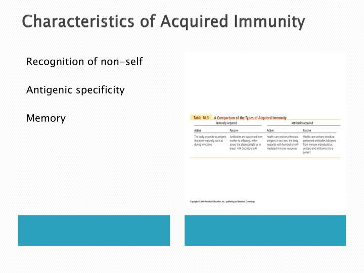 Characteristics of acquired immunity