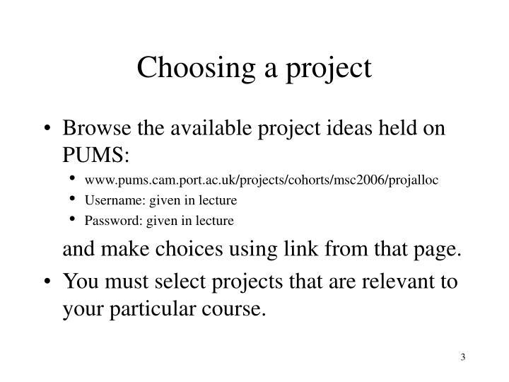Choosing a project