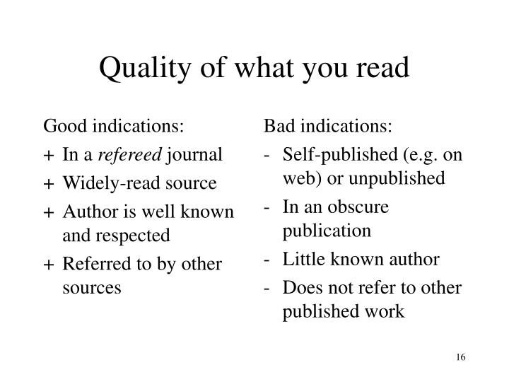 Good indications: