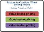 factors to consider when setting prices1