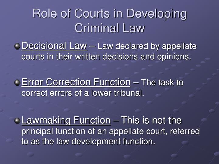 Role of Courts in Developing Criminal Law