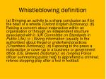 whistleblowing definition