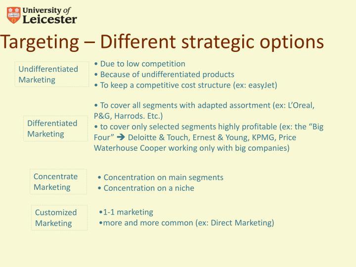 Targeting – Different strategic options