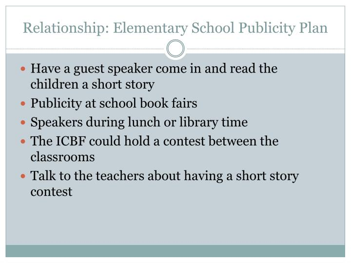 Relationship: Elementary School Publicity Plan