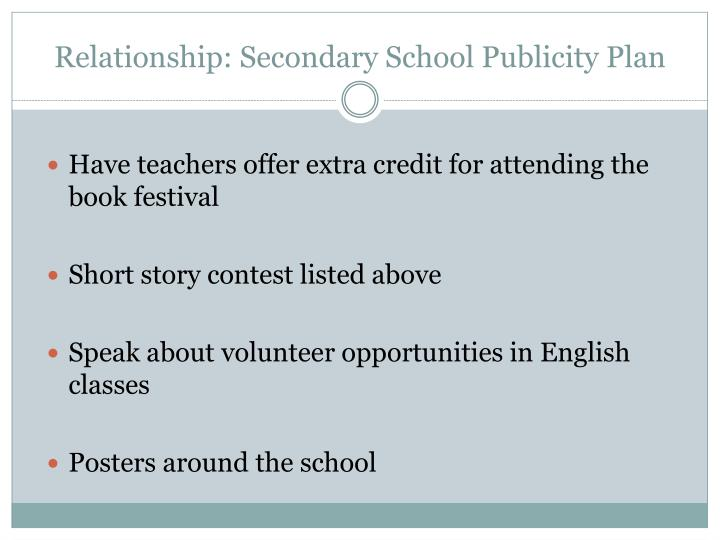 Relationship: Secondary School Publicity Plan