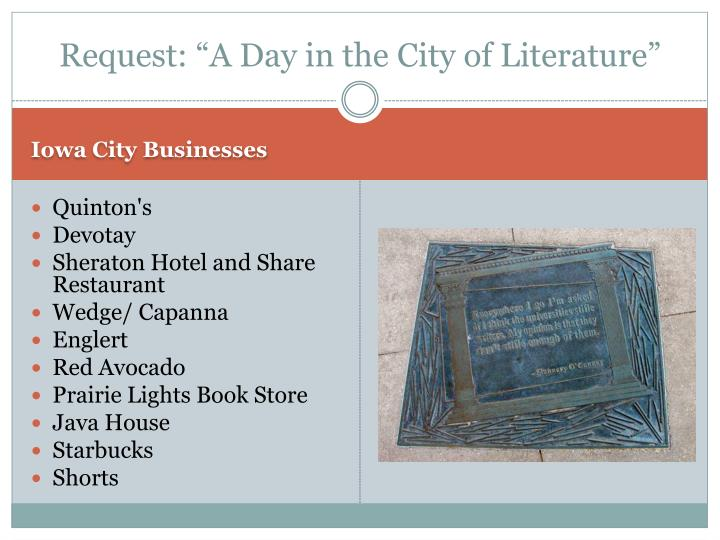 "Request: ""A Day in the City of Literature"""