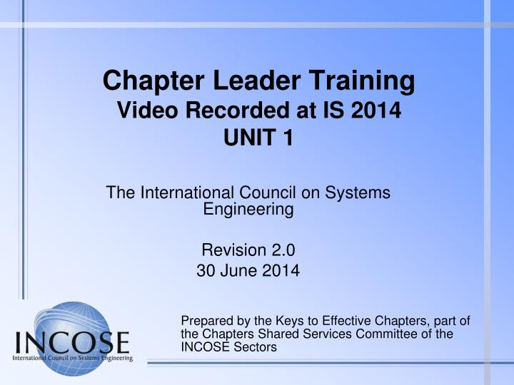 chapter leader training video recorded at is 2014 unit 1 n.