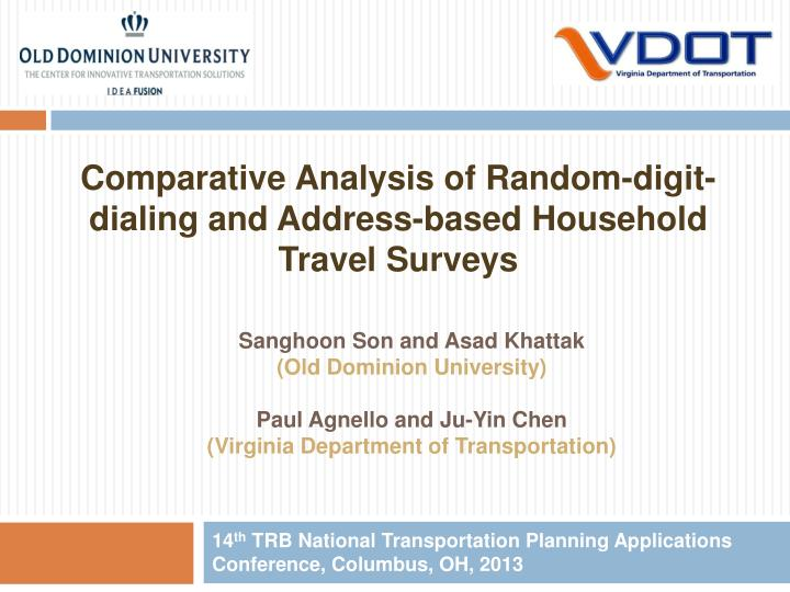 14 th trb national transportation planning applications conference columbus oh 2013 n.