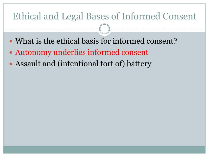 Ethical and Legal Bases of Informed Consent