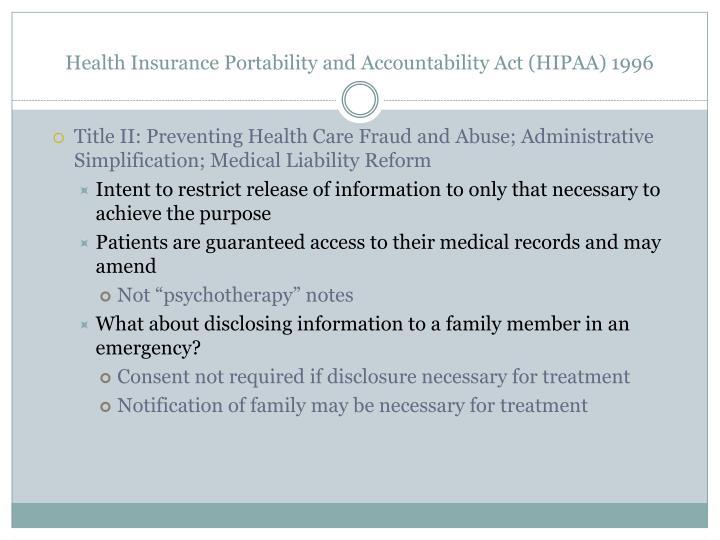 Health Insurance Portability and Accountability Act (HIPAA) 1996