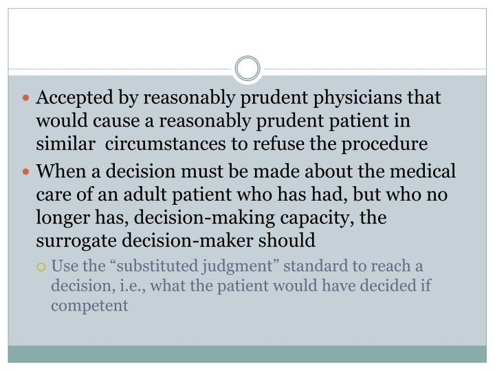 Accepted by reasonably prudent physicians that would cause a reasonably prudent patient in similar  circumstances to refuse the procedure