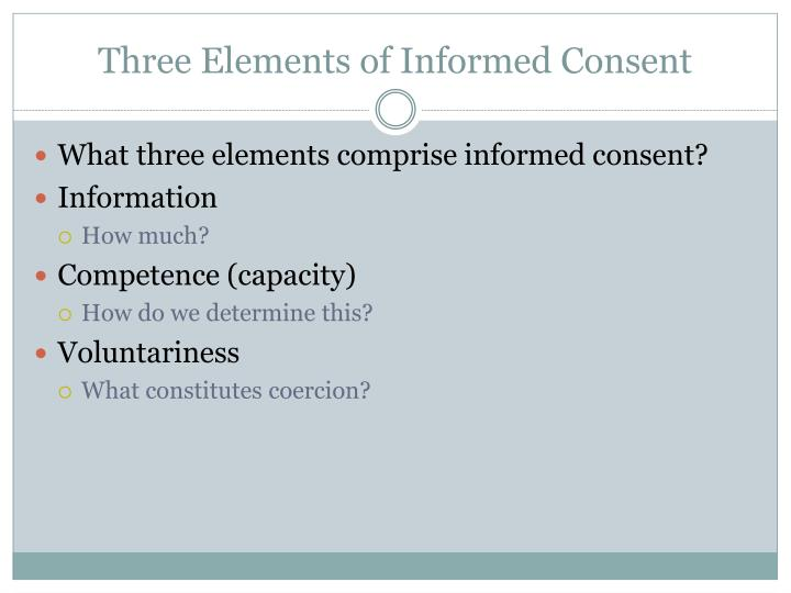 Three Elements of Informed Consent