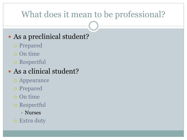What does it mean to be professional?