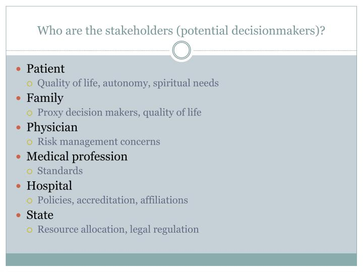Who are the stakeholders (potential