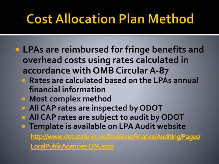 Cost Allocation Plan Method