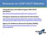 resources on cusp cauti websites
