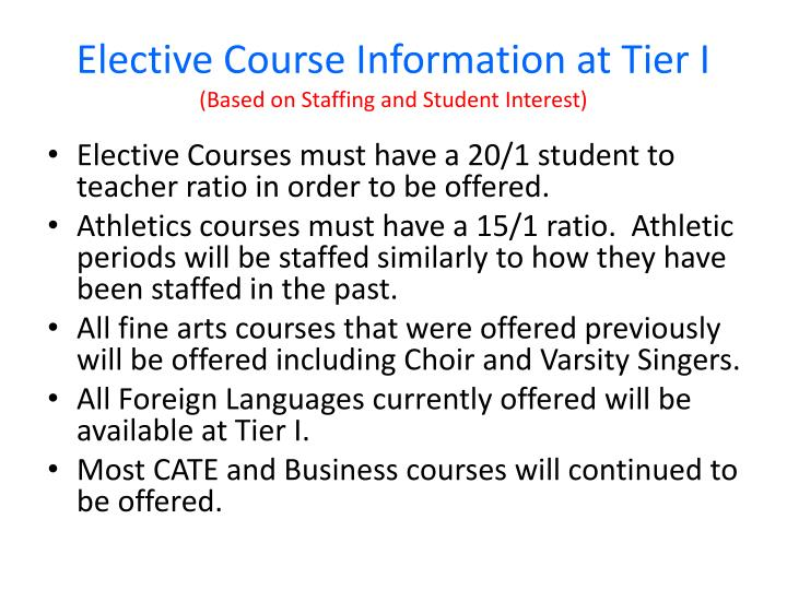 Elective Course Information at Tier I