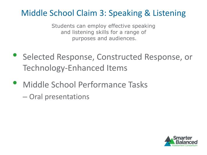 Middle School Claim 3: Speaking & Listening