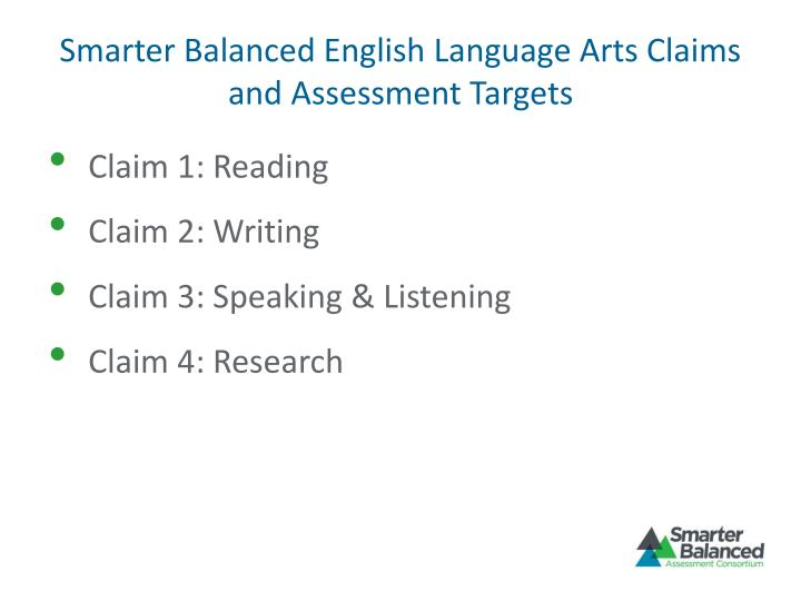 Smarter Balanced English Language Arts Claims and Assessment Targets