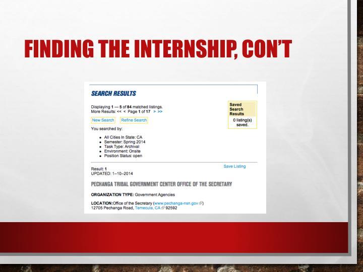Finding the Internship,
