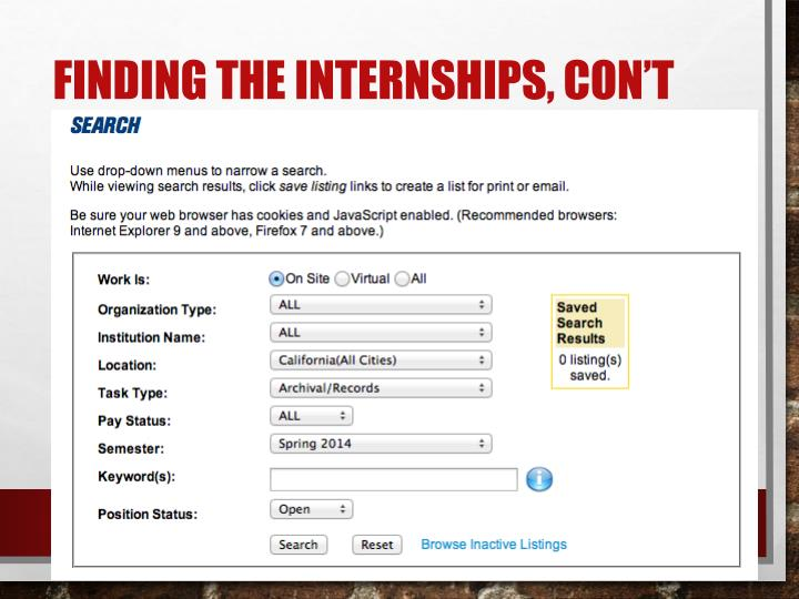 Finding the Internships,