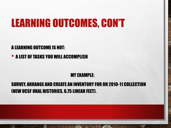 Learning Outcomes,