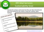 rpi mail services sustainability goal