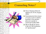 counseling notes