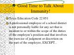 good time to talk about immunity