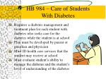 hb 984 care of students with diabetes