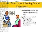 state laws affecting school counselors
