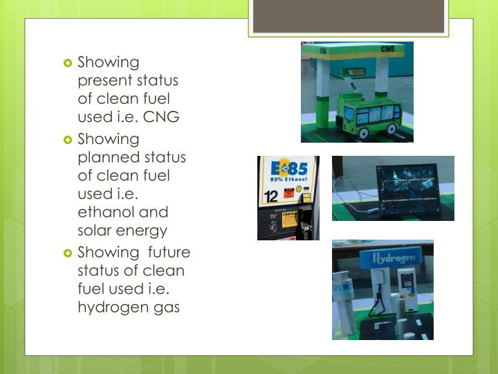 Showing  present status of clean fuel used i.e.