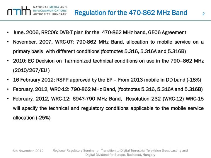 Regulation for the 470 862 mhz band