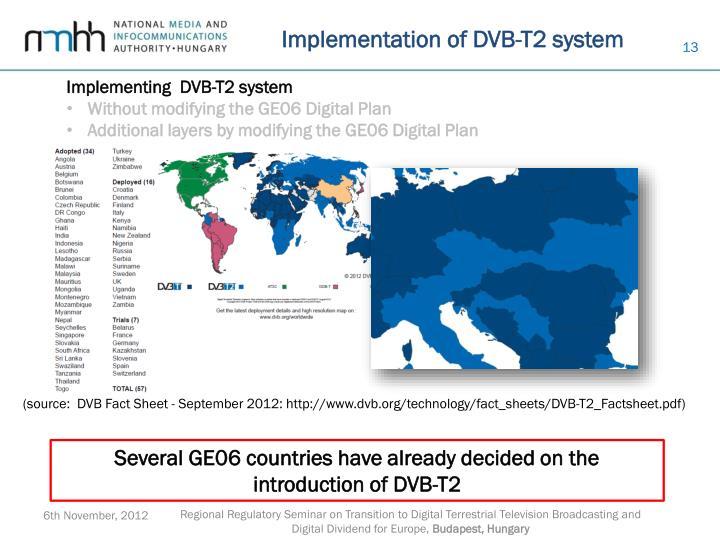Implementation of DVB-T2 system