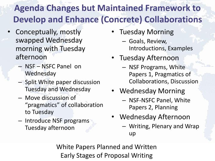 Agenda Changes but Maintained Framework to Develop and Enhance (Concrete) Collaborations