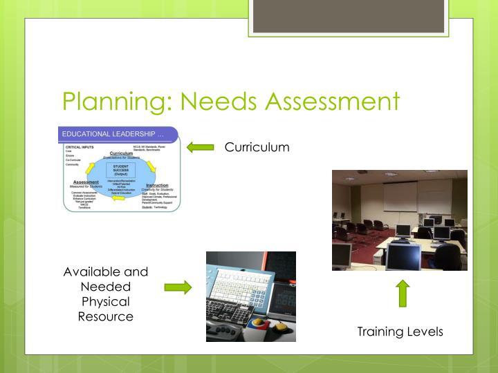 Planning: Needs Assessment