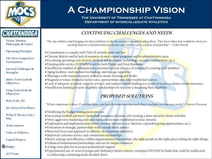 A Championship Vision