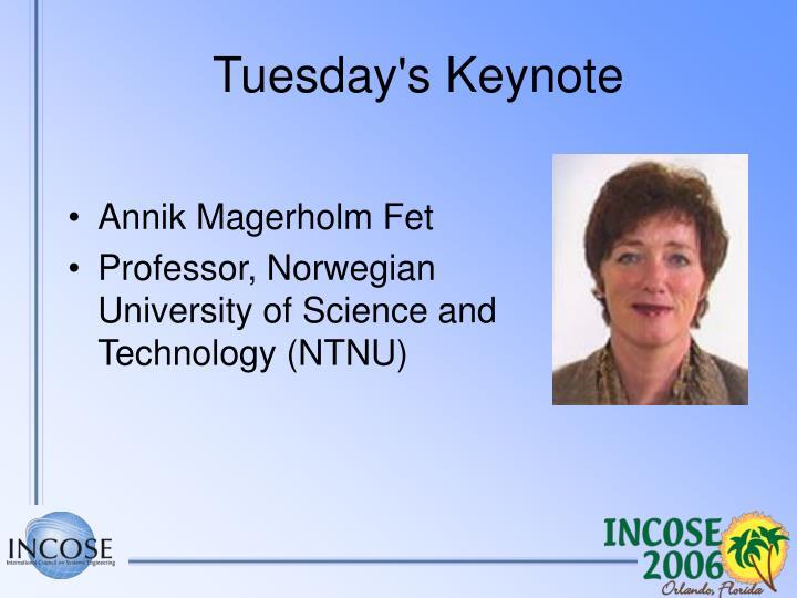 Tuesday's Keynote