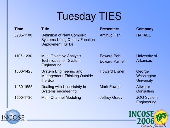 Tuesday TIES