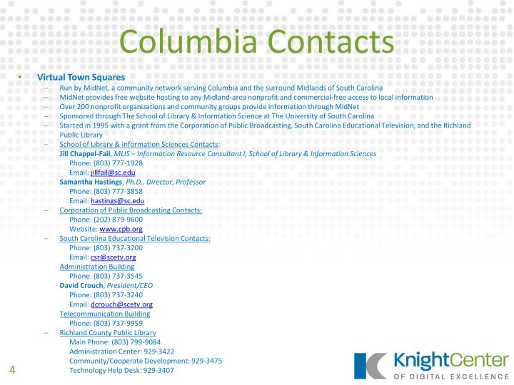 Columbia Contacts