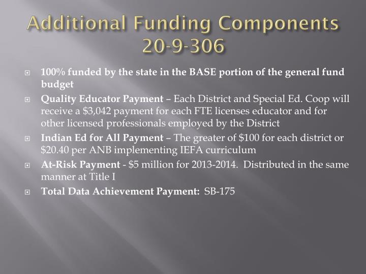Additional Funding Components