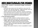 new rights roles for women