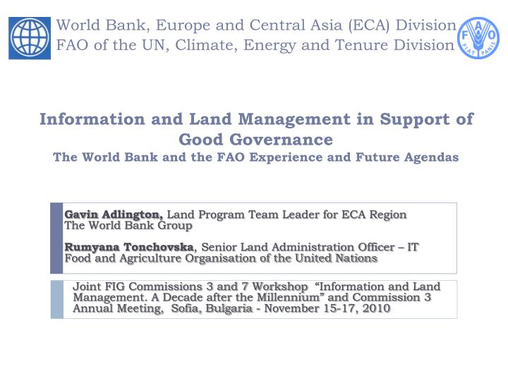 world bank europe and central asia eca division fao of the un climate energy and tenure division n.