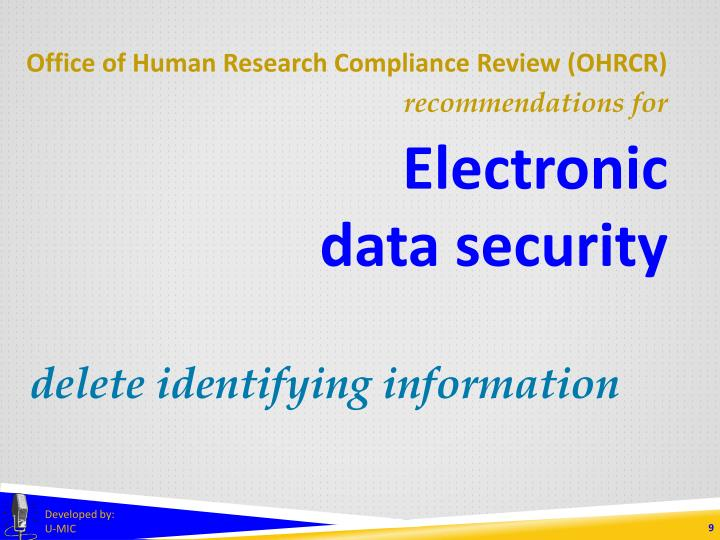 Office of Human Research Compliance Review (OHRCR)