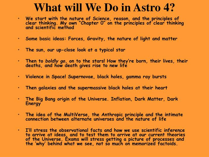 What will We Do in Astro 4?