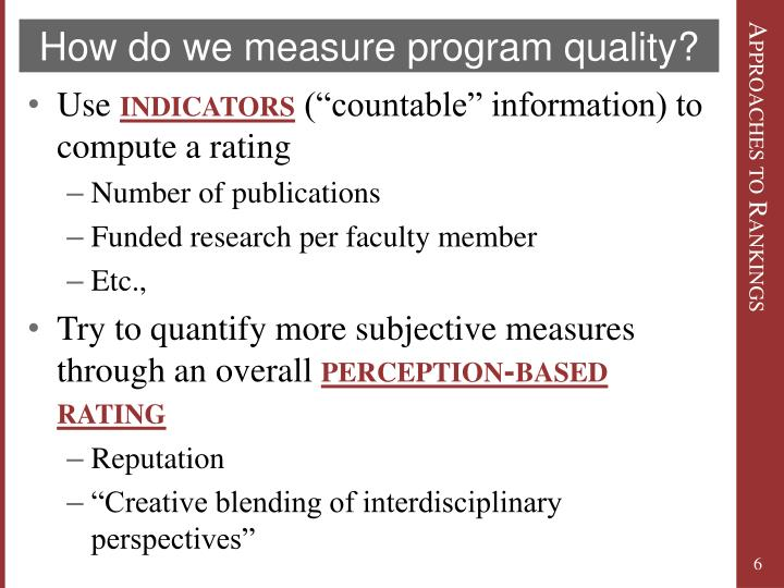 How do we measure program quality?